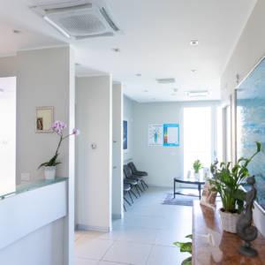 ingresso con reception e accesso alla sala d'attesa